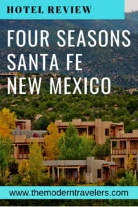 Four Seasons Santa Fe is an ultra luxurious property to languish in. The convenient location, included Mercedes convertible, excellent food, extra special spa, and fabulous pool make this a good value as well as a decadent southwestern oasis. Four Seasons Santa Fa Hotel Review, Where to stay in Santa Fe New Mexico, Best hotels in New Mexico, Luxury Hotel Santa Fe