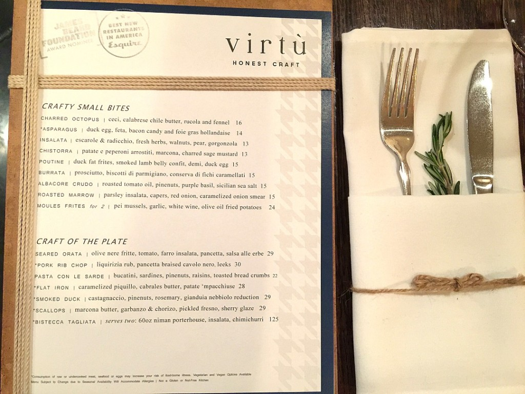 virtu menu