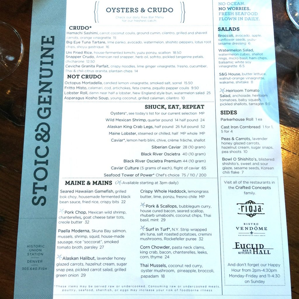 stoic & genuine menu