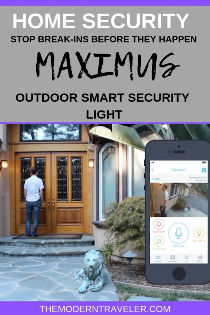 Maximus Home Security Smart Outdoor Light Review. Best home security for travelers.