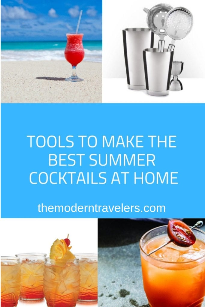 Tools to make the best summer cocktails at home. Best cocktail books. Tiki cocktail glasses. Best barware. Pina Barware.