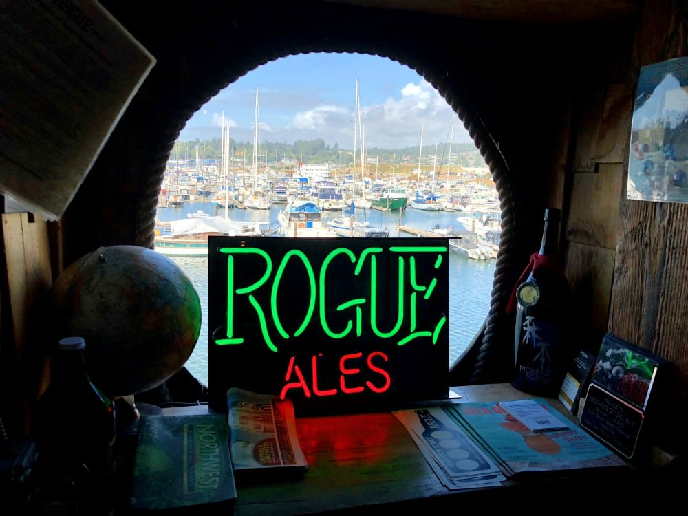 Rogue Ales Newport Brewery Review. Rogue Ales Headquarters. Where to eat on the Oregon Coast. Things to do in Newport Oregon. Best Places to Eat and Drink in Newport Oregon, Best Beer Oregon Coast, Craft Beer Oregon, Beer Travel
