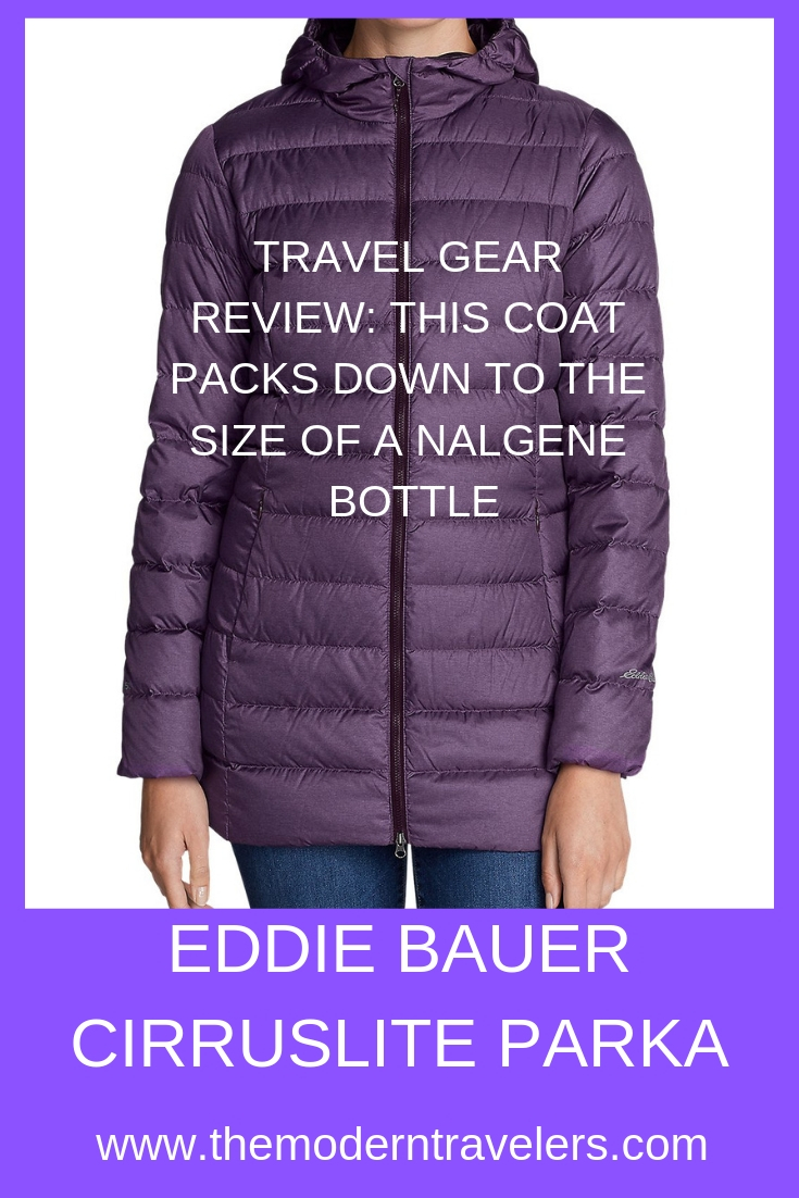 Eddie Bauer Cirruslite 2.0 Down Parka Review: This Travel Friendly Coat packs down to the size of a Nalgene bottle and is great for unpredictable weather. Best Winter Coat for Travel, Packable Down Jacket.